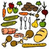 Fruta vegetal de la comida un garabato plano del icono del color Fotos de archivo libres de regalías