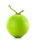 Fruta verde del coco en el fondo blanco Imagen de archivo libre de regalías