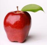 Fruta vermelha de Apple com folha Foto de Stock