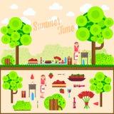 Fruta, vino, barbacoa, parrilla en la hierba Prado de la comida campestre del verano Ejemplos planos para el sitio web, banderas  Fotos de archivo libres de regalías