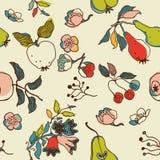 Fruta y fondo floral Imagen de archivo libre de regalías
