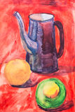 Fruta y jarro pintados con un cepillo Imágenes de archivo libres de regalías