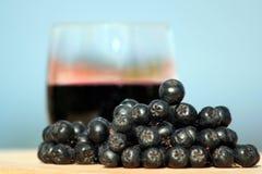 Fruta y jugo de Aronia Fotos de archivo