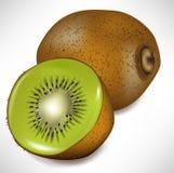 Fruta y rebanada de kiwi Imágenes de archivo libres de regalías