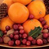 Fruta y tuercas de la Navidad Imagen de archivo libre de regalías