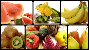 Fruta y verdura en un collage blanco del fondo almacen de video