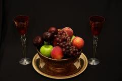 Fruta y vino Fotografía de archivo libre de regalías