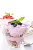 Fruta y yogur Fotografía de archivo