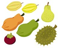 Frutas ajustadas Fotografia de Stock Royalty Free