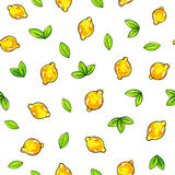 Frutas amarillas hermosas del limón aisladas en el fondo blanco Dibujo del limón Modelo inconsútil Imagen de archivo