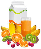 Frutas & suco Imagem de Stock