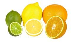 Frutas anaranjadas, cal, limón Imagenes de archivo