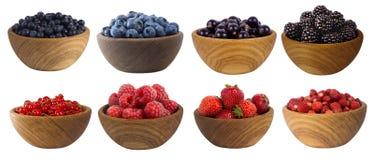 Frutas azul oscuras y rojas y bayas aisladas en blanco Baya dulce y jugosa con el espacio de la copia para el texto Moras, aránda Foto de archivo libre de regalías