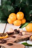Frutas cítricas con el chocolate Fotos de archivo