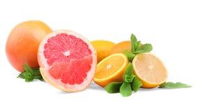 Frutas cítricas y hojas de menta en un fondo blanco Diversas frutas exóticas: pomelo, naranja, y limón Vitamina C Imágenes de archivo libres de regalías