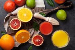 Frutas cítricas y jugo frescos Fotografía de archivo libre de regalías