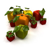 Frutas cúbicas Fotografia de Stock