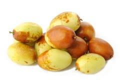 Frutas chinas de las azufaifas en blanco Fotografía de archivo