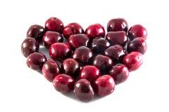 Frutas da cereja com folhas Imagem de Stock
