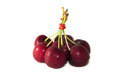 Frutas da cereja com folhas Imagens de Stock