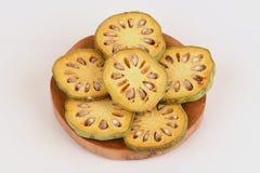 Frutas de Bael Marmelos L de Aegle Fotografía de archivo