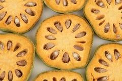 Frutas de Bael Marmelos L de Aegle Imagenes de archivo