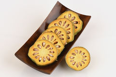 Frutas de Bael Marmelos L de Aegle Imagen de archivo