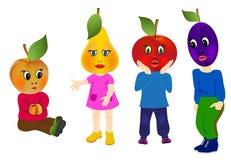 Frutas de la emoción con el cuerpo de los niños Fotos de archivo libres de regalías