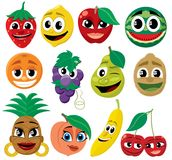 Frutas de la historieta Imagen de archivo libre de regalías