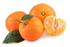 Frutas de las mandarinas aisladas en blanco Foto de archivo libre de regalías