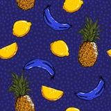 Frutas de moda y frescas limón, piña, banan del verano del bosquejo de la mano stock de ilustración