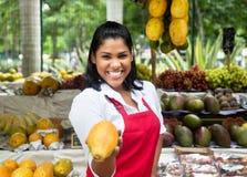 Frutas de ofrecimiento de la dependienta mexicana en un mercado de los granjeros Foto de archivo