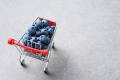 Frutas del arándano en mini carro de la compra Foco selectivo en los arándanos en pequeña carretilla Copyspace para el texto fotografía de archivo libre de regalías