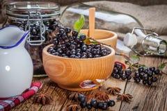 Frutas del chokeberry negro preparadas para procesar imagenes de archivo