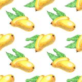 Frutas del mango con el modelo incons?til de las hojas stock de ilustración