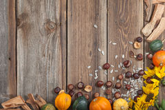 Frutas del otoño en la tabla Fotografía de archivo libre de regalías