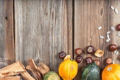 Frutas del otoño en la tabla Imagen de archivo libre de regalías