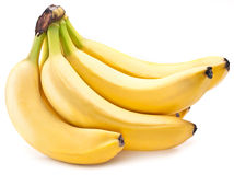 Frutas del plátano encendido sobre blanco