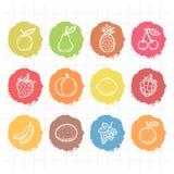 Frutas dibujadas garabato de los iconos Fotografía de archivo
