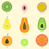 Frutas dibujadas mano del garabato Fotografía de archivo libre de regalías