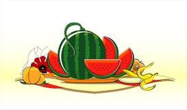 Frutas do verão no prato com guardanapo Fotos de Stock Royalty Free