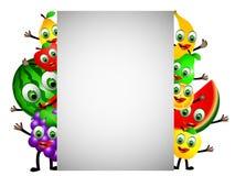 Frutas dos desenhos animados com sinal em branco Imagens de Stock Royalty Free