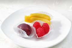 Frutas dulces del mazapán Fotografía de archivo libre de regalías