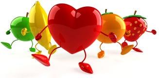 Frutas e coração Foto de Stock