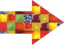 Frutas e legumes da cor Alimento fresco Conceito collage Fotografia de Stock