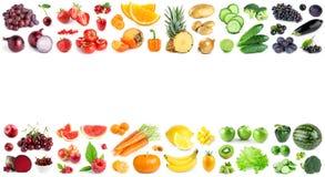 Frutas e legumes da cor no branco ilustração stock