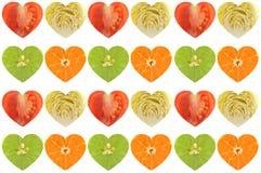 Frutas e legumes dadas forma coração Foto de Stock Royalty Free