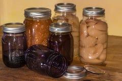 Frutas e legumes de colocação em latas Foto de Stock