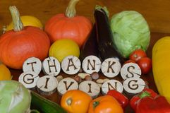 Frutas e legumes decoradas para a ação de graças Foto de Stock