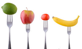 Frutas e legumes em uma forquilha fotografia de stock